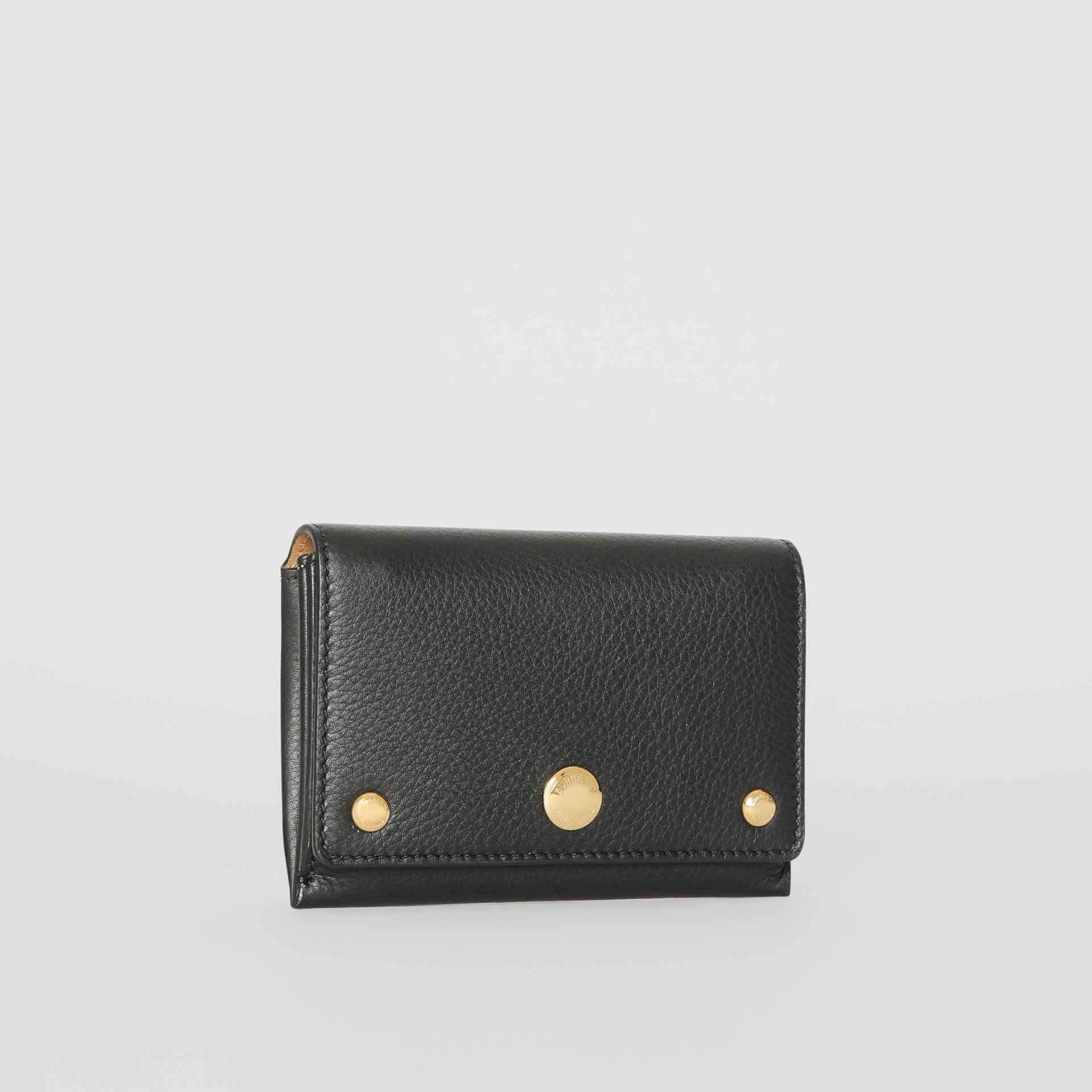 Triple Stud Leather Folding Wallet in Black - Women | Burberry - gallery image 4