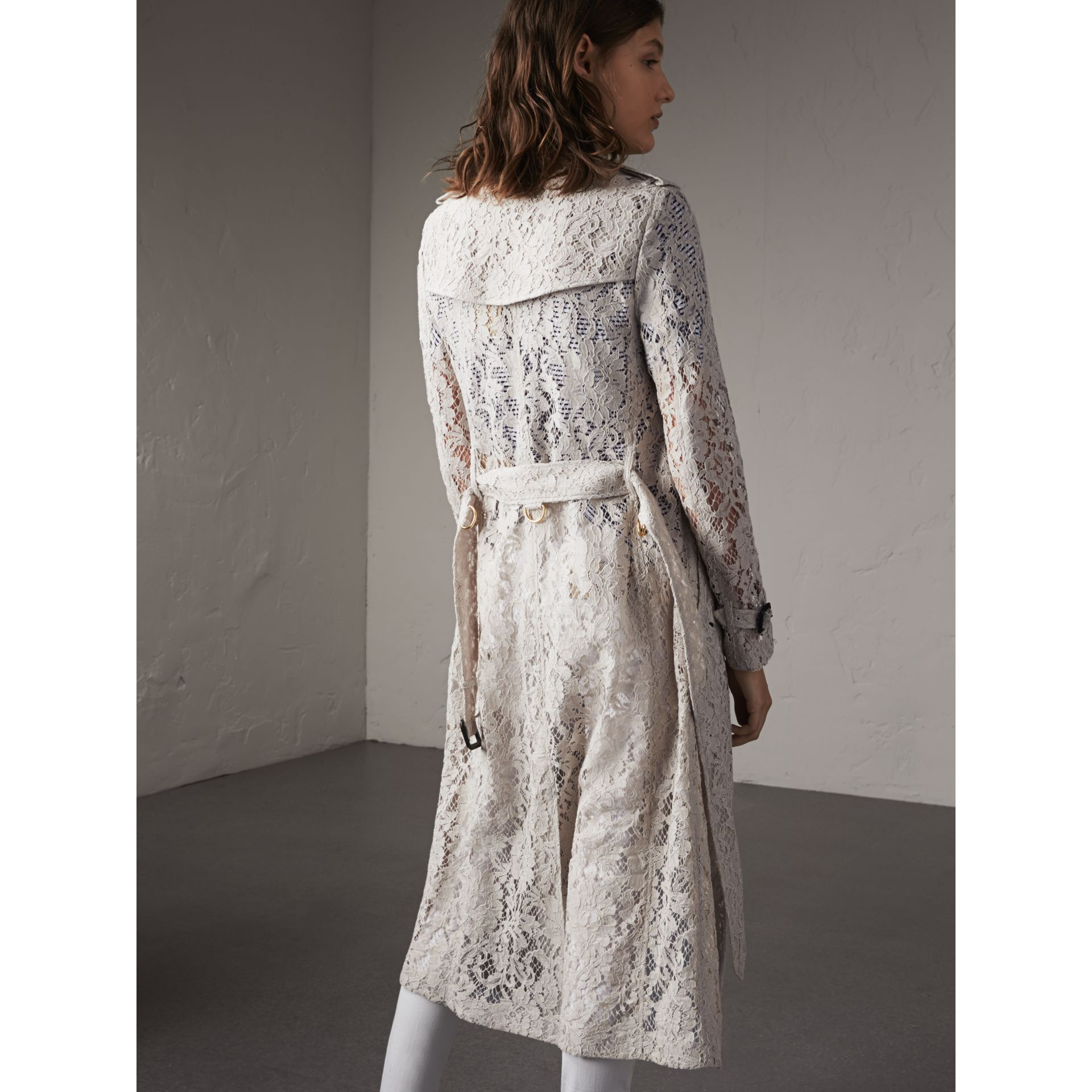 Macramé Lace Trench Coat in Pale Grey - gallery image 3