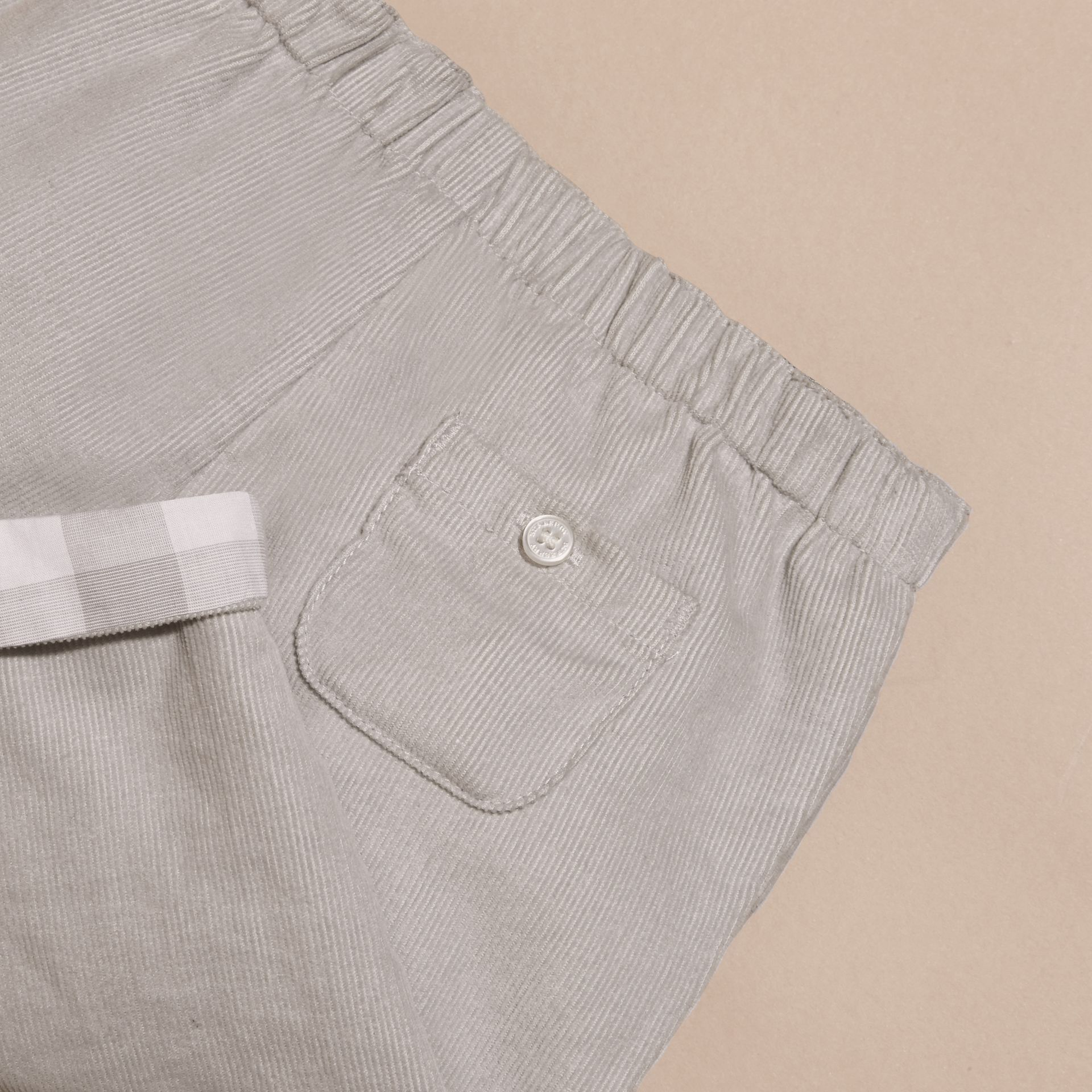 Mid grey Check Turn-Up Cotton Trousers - gallery image 2