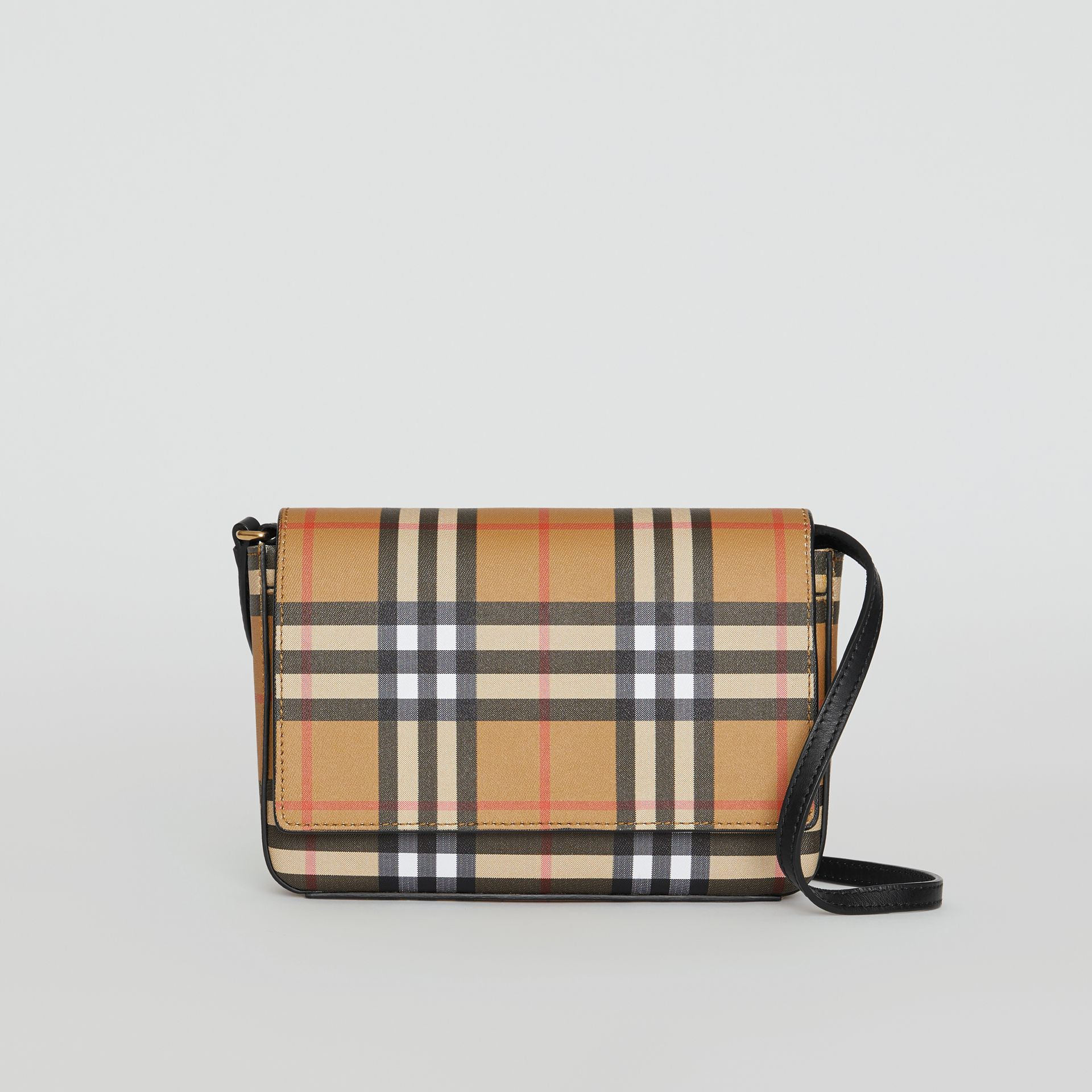 Vintage Check and Leather Wallet with Detachable Strap in Black - Women | Burberry - gallery image 0