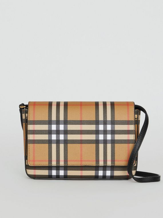 Small Vintage Check and Leather Crossbody Bag in Black