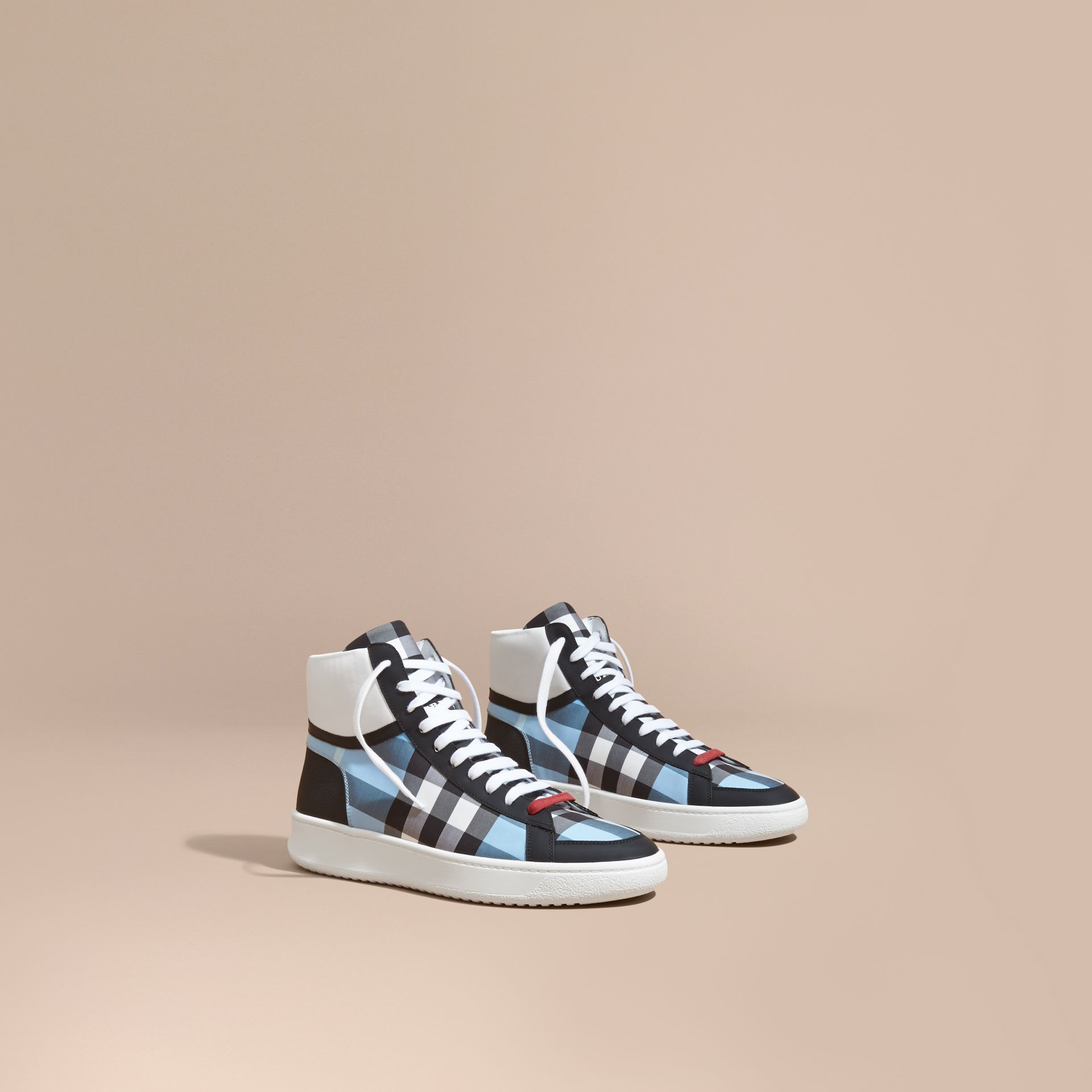 Leather and Check High-top Trainers in Light Blue - gallery image 1