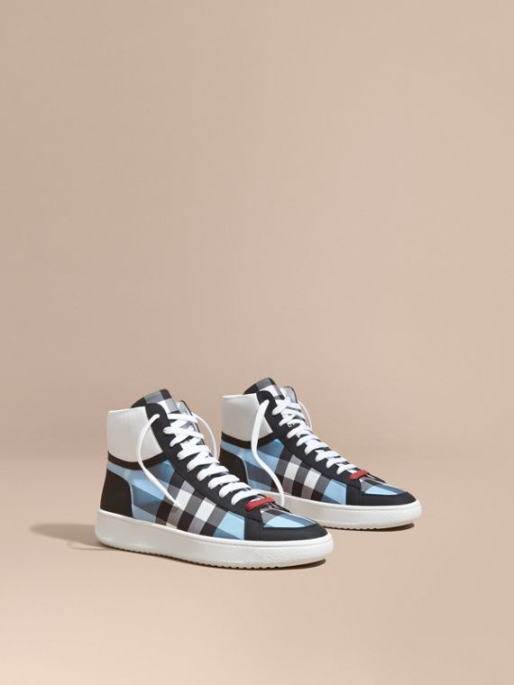 Leather and Check High-top Trainers Light Blue