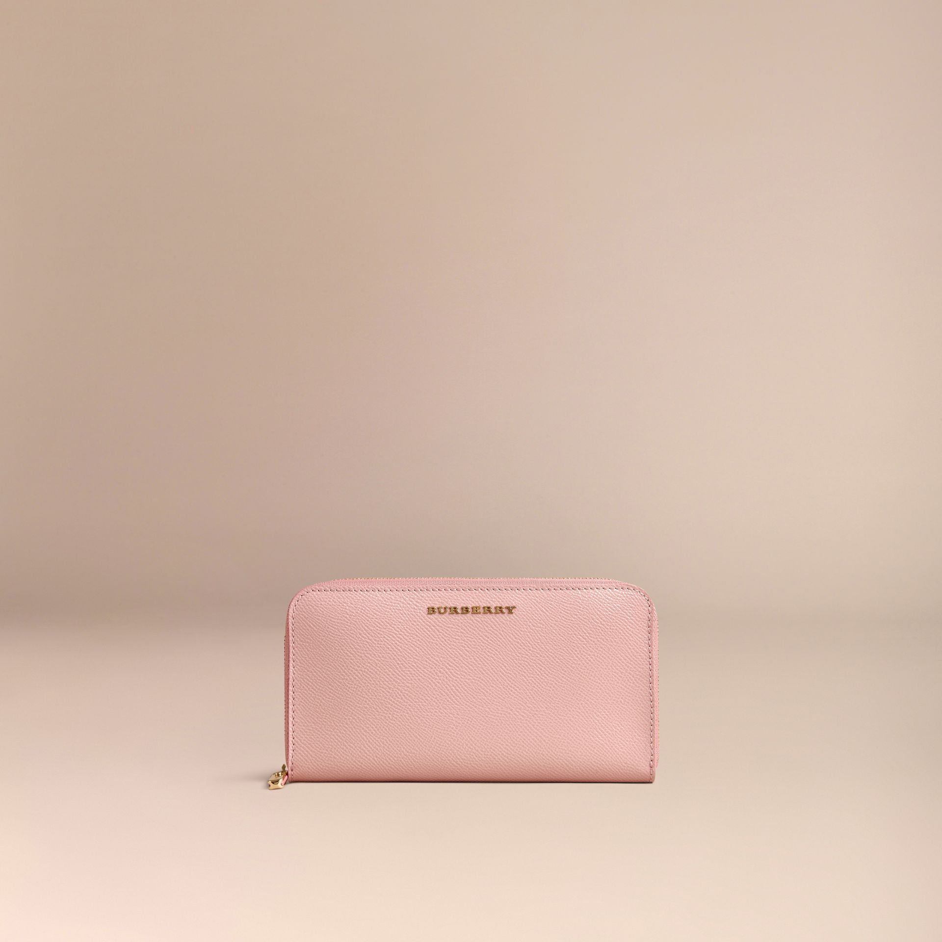 Patent London Leather Ziparound Wallet in Ash Rose - gallery image 3