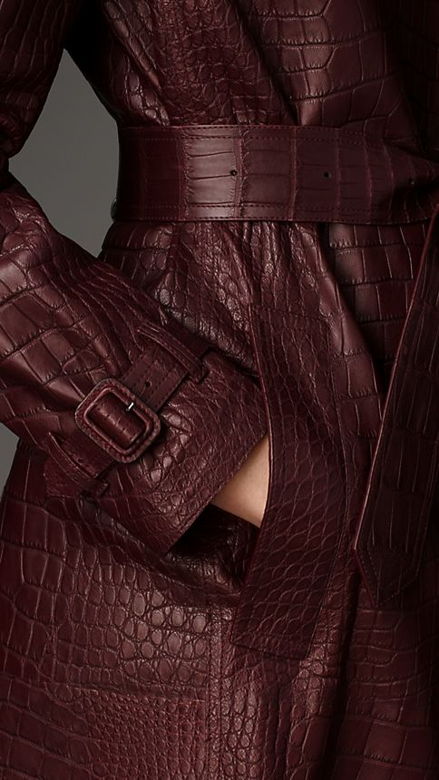 Maroon Alligator Wrap Trench Coat - Image 3
