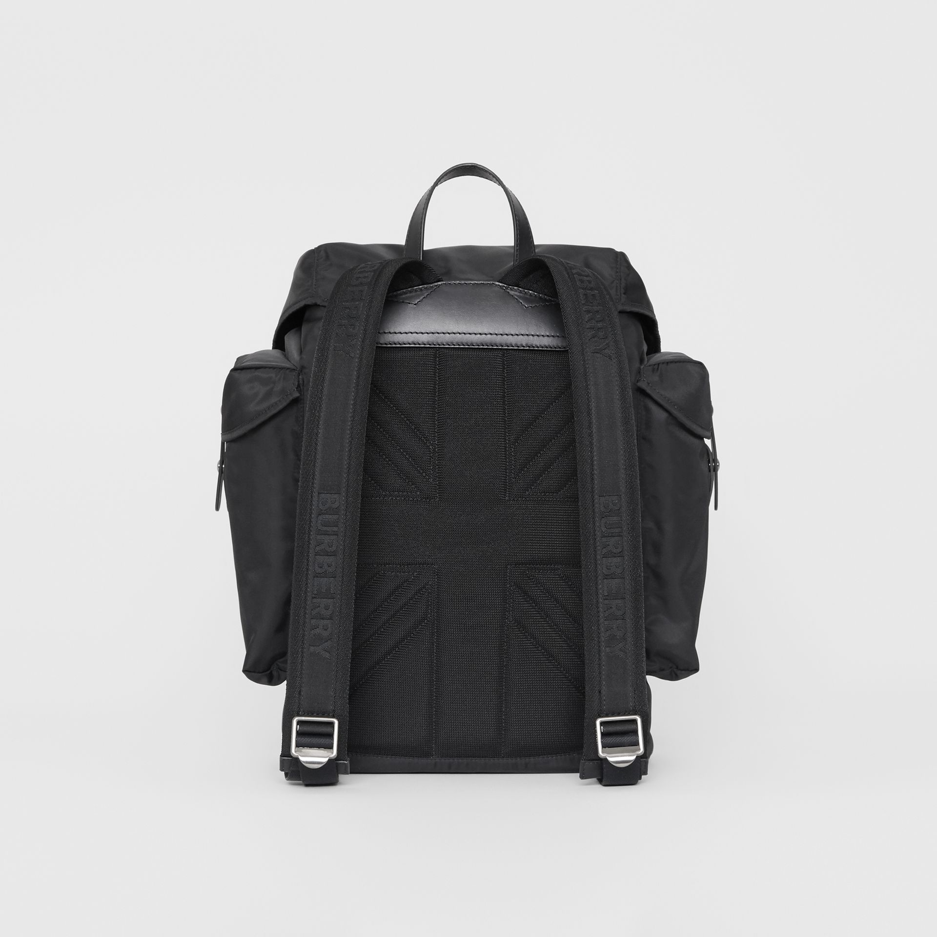 Large Leather Trim Nylon Backpack in Black | Burberry - gallery image 8