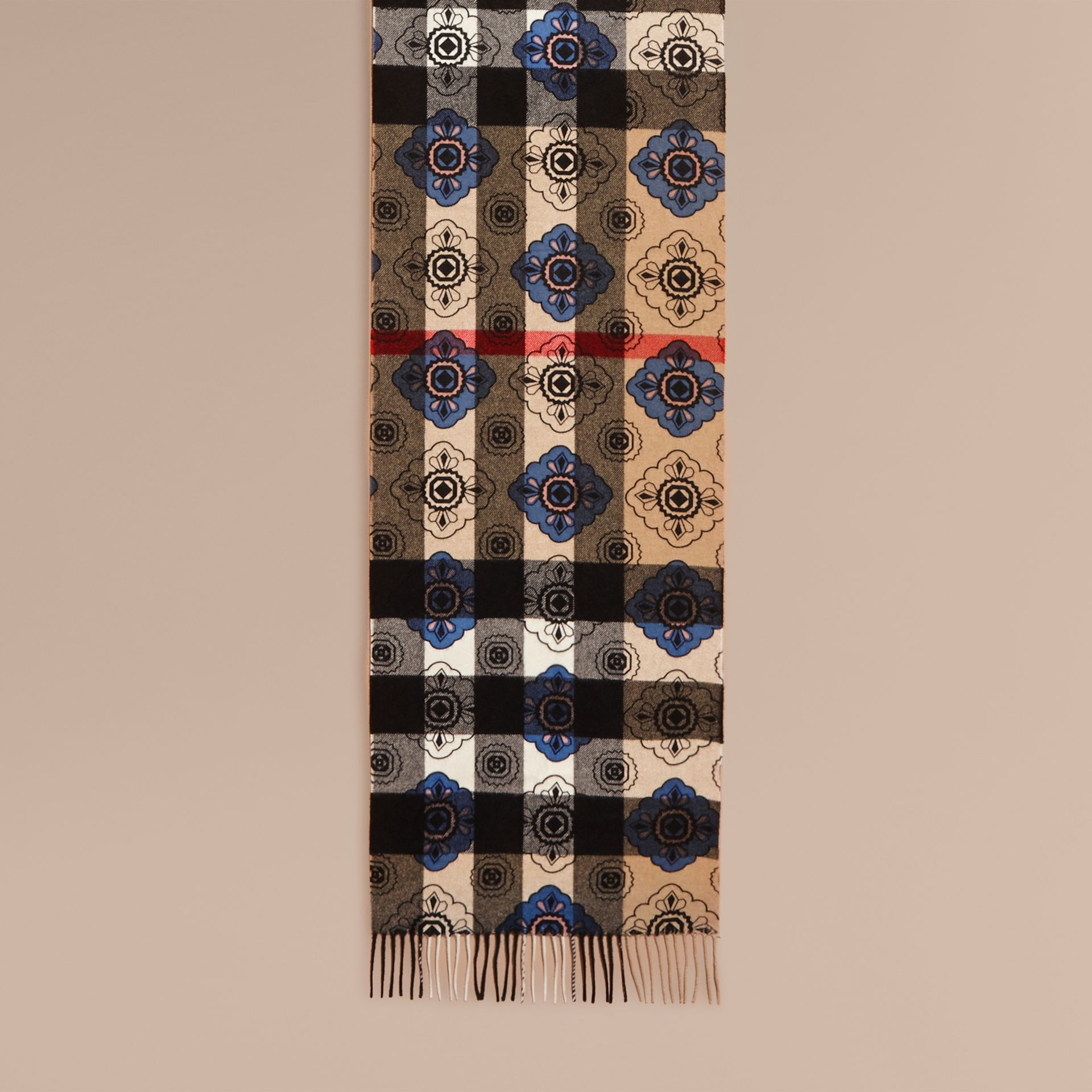 Reversible Geometric Tile Print and Check Cashmere Scarf - gallery image 2