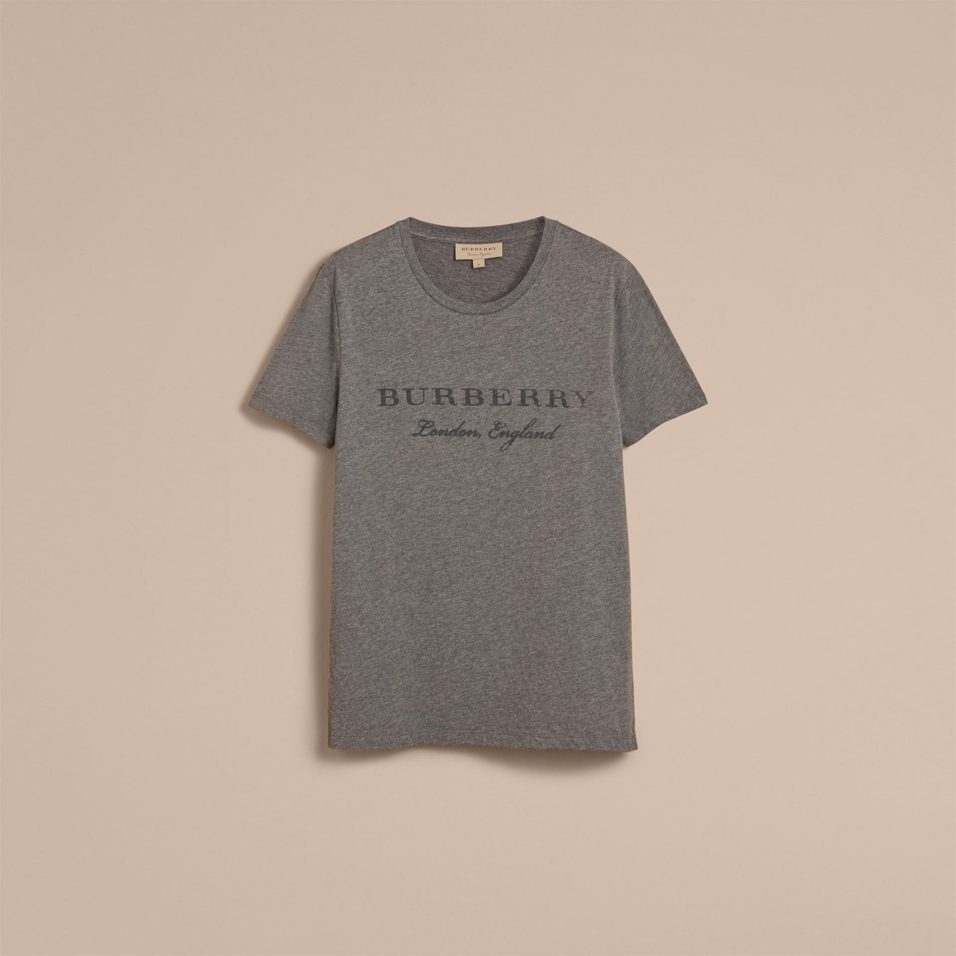 Devoré Cotton Jersey T-shirt in Mid Grey Melange - gallery image 4