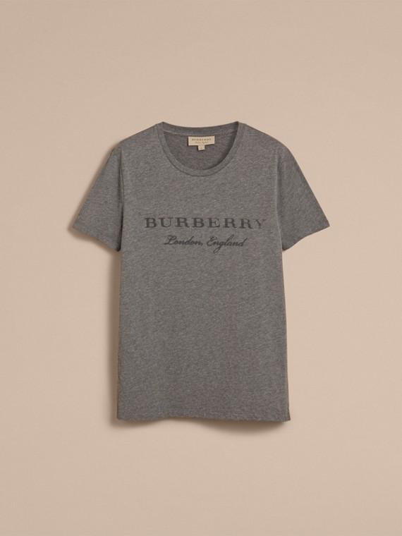 Contrast Motif Cotton Blend T-shirt Mid Grey Melange - cell image 3