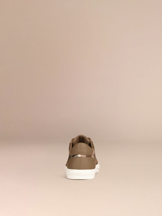 House Check and Leather Trainers in Mink Grey | Burberry - cell image 2