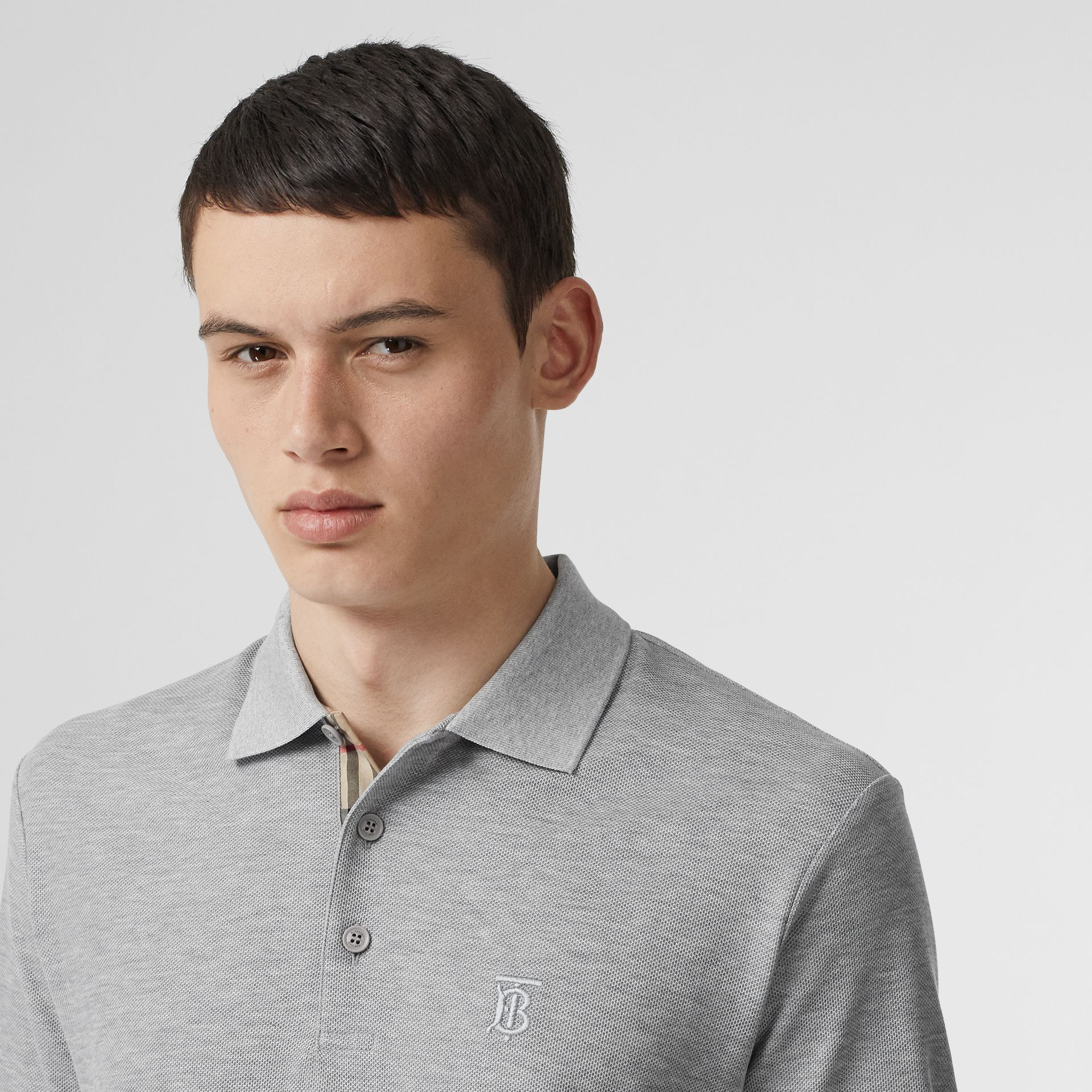 Monogram Motif Cotton Piqué Polo Shirt in Pale Grey Melange - Men | Burberry Canada - gallery image 1