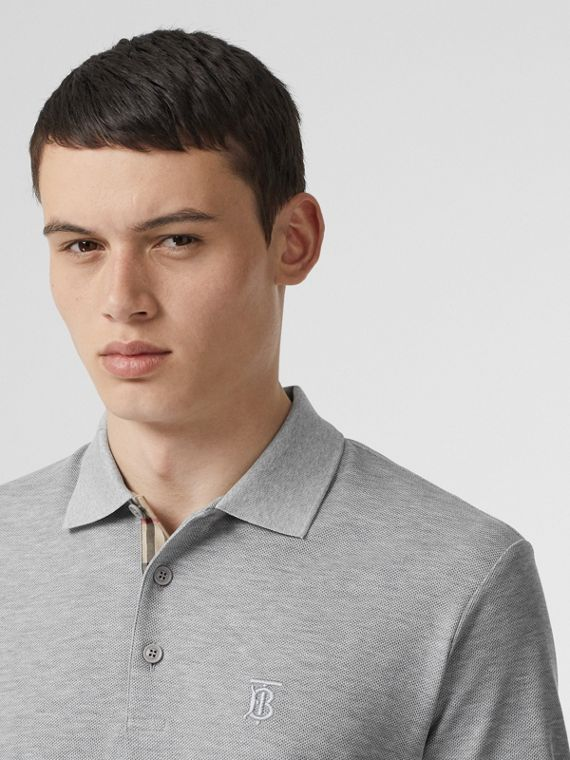 Monogram Motif Cotton Piqué Polo Shirt in Pale Grey Melange