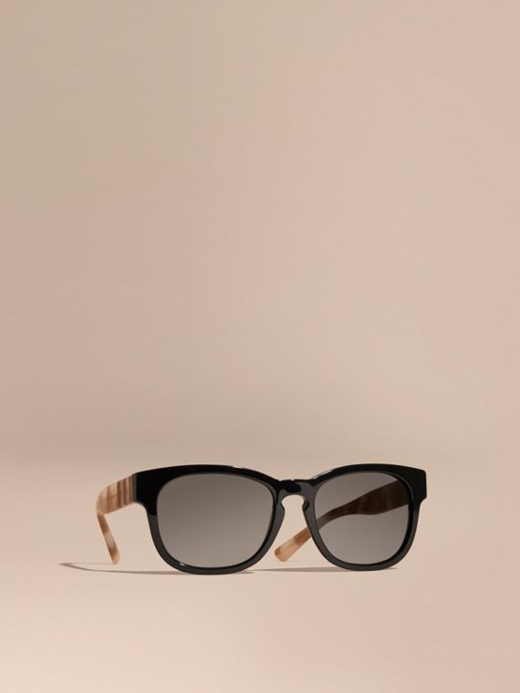 Check and Camouflage Detail Square Frame Sunglasses Black