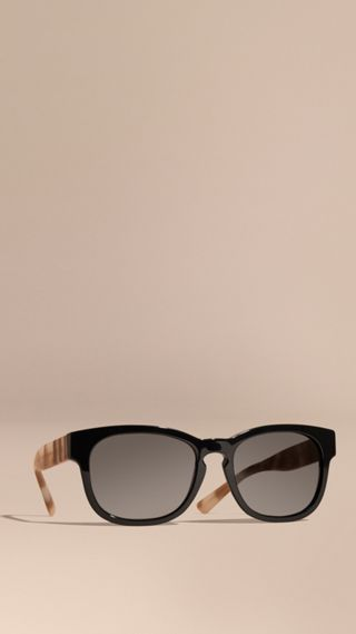 Check and Camouflage Detail Square Frame Sunglasses