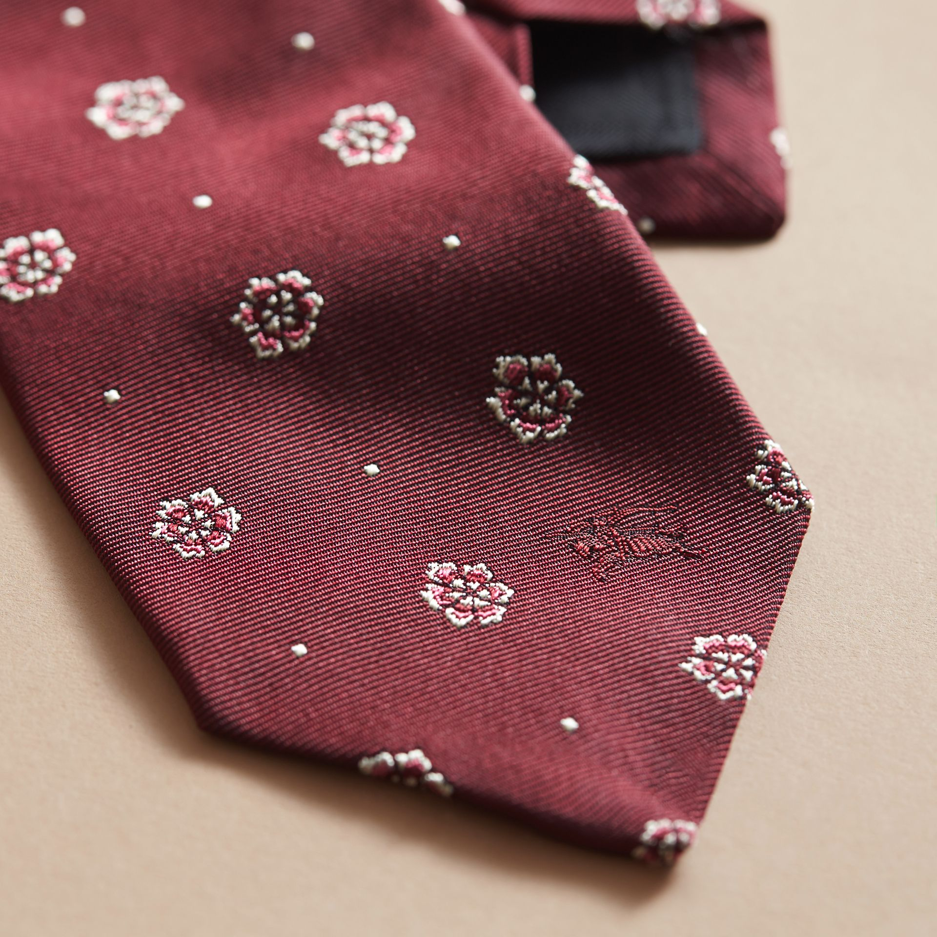 Modern Cut Floral and Spot Jacquard Silk Tie Deep Claret - gallery image 2