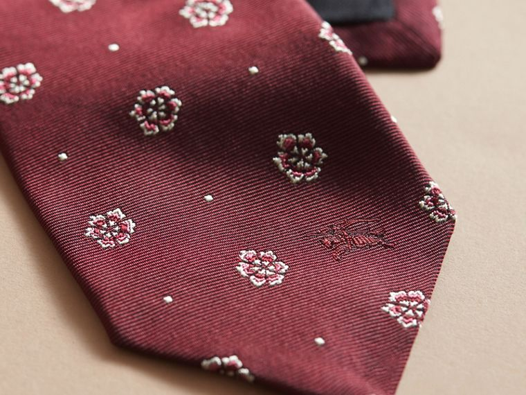 Modern Cut Floral and Spot Jacquard Silk Tie Deep Claret - cell image 1