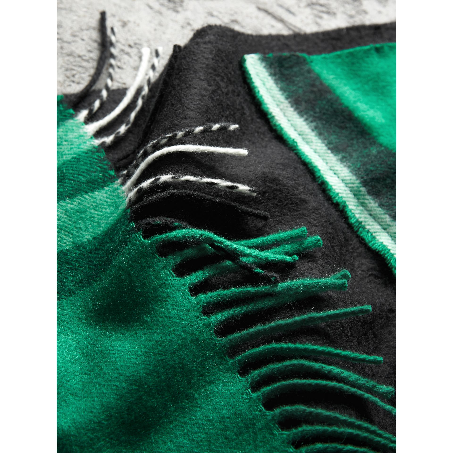 Tartan Panel Detail Cashmere Scarf in Black | Burberry - gallery image 2