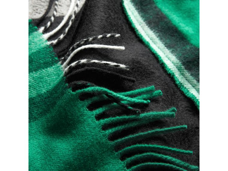 Tartan Panel Detail Cashmere Scarf in Black | Burberry - cell image 1