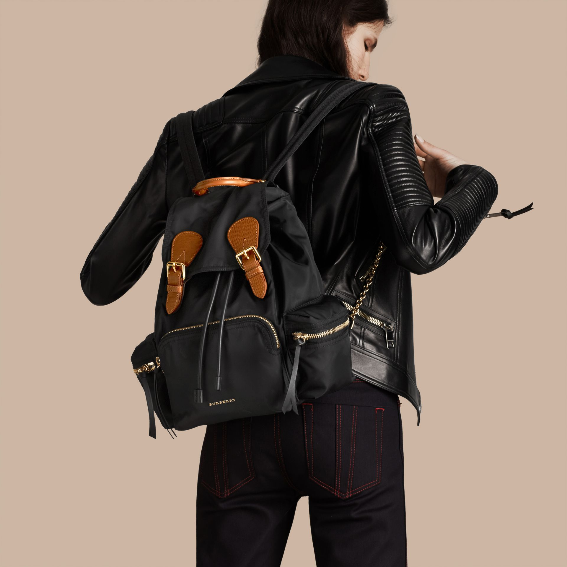 The Medium Rucksack in Technical Nylon and Leather in Black - gallery image 3