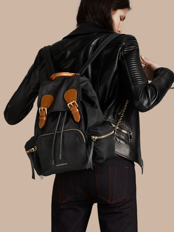 The Medium Rucksack in Technical Nylon and Leather Black - cell image 2
