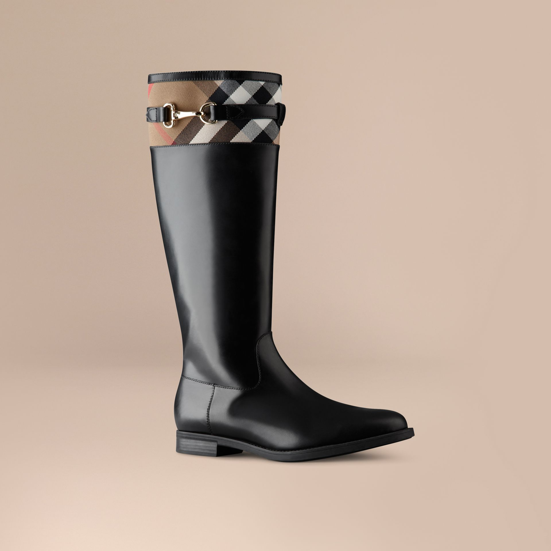 House Check Detail Riding Boots in Black - Women | Burberry - gallery image 1