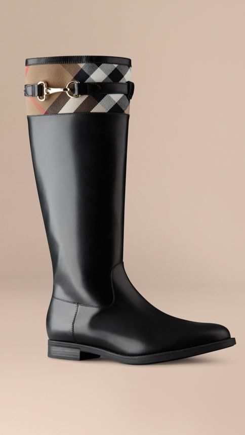Black House Check Detail Riding Boots - Image 1