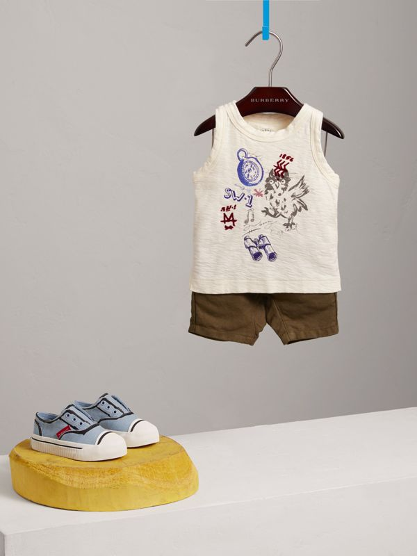 Adventure Motif Cotton Vest in Chalk White - Children | Burberry - cell image 2
