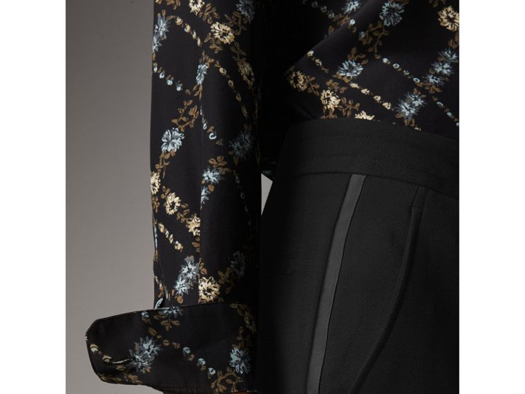 Ribbon Detail Tie-waist Wool Trousers in Black - Women | Burberry - cell image 4