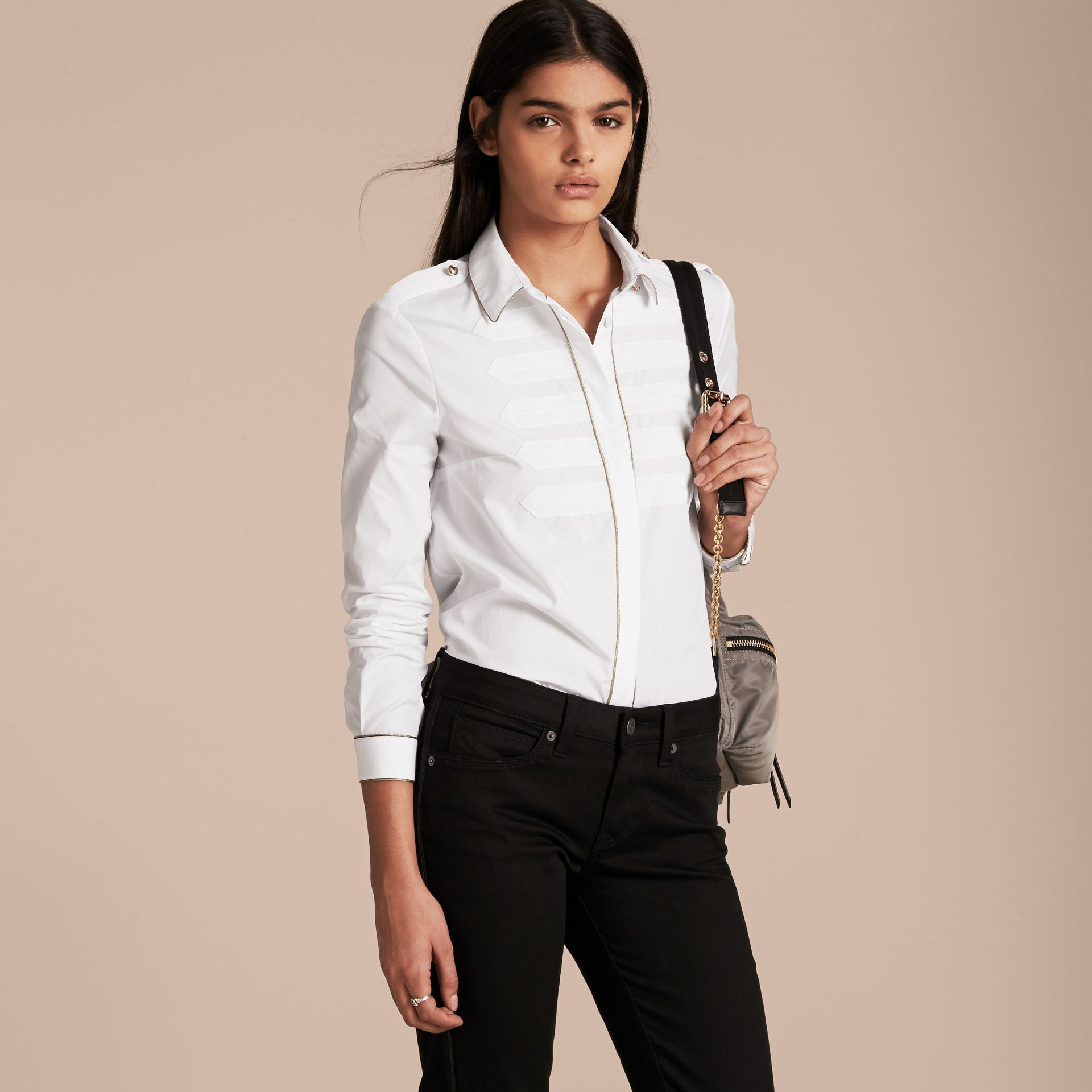 Piped Jacquard Cotton Shirt in White - gallery image 6