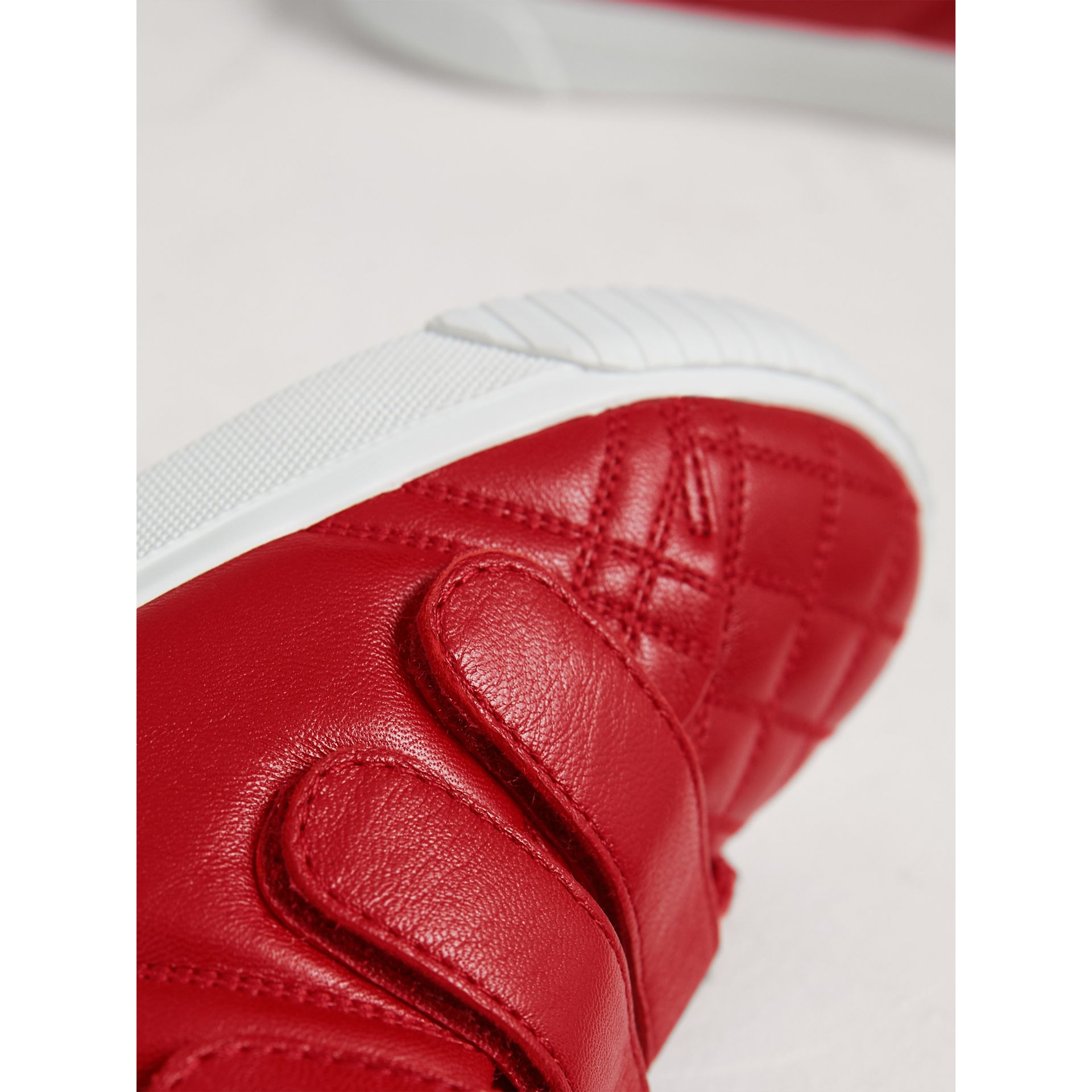 Quilted Leather High-top Trainers in Parade Red | Burberry - gallery image 2