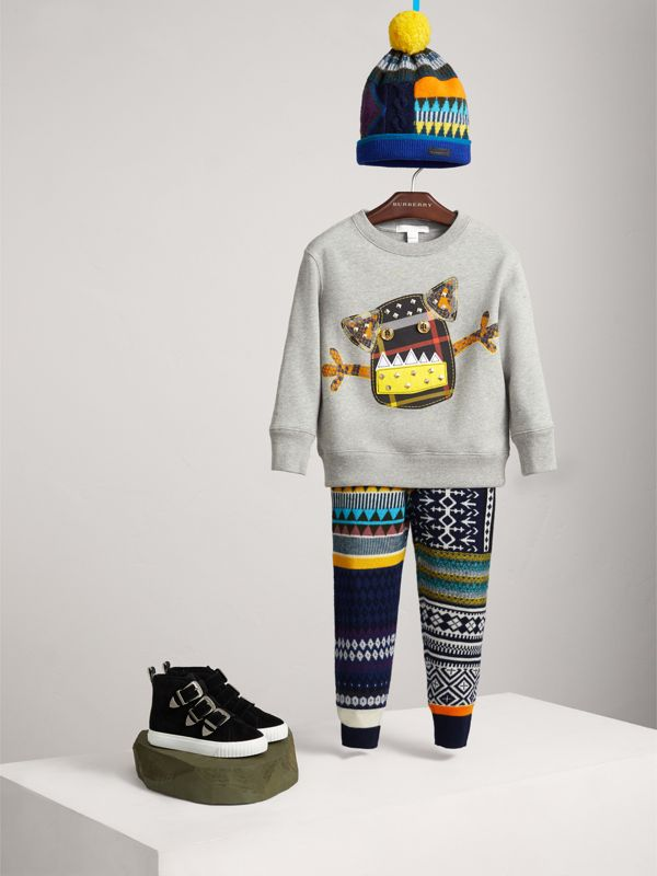 Creature Motif Cotton Jersey Sweatshirt in Grey Melange | Burberry - cell image 2