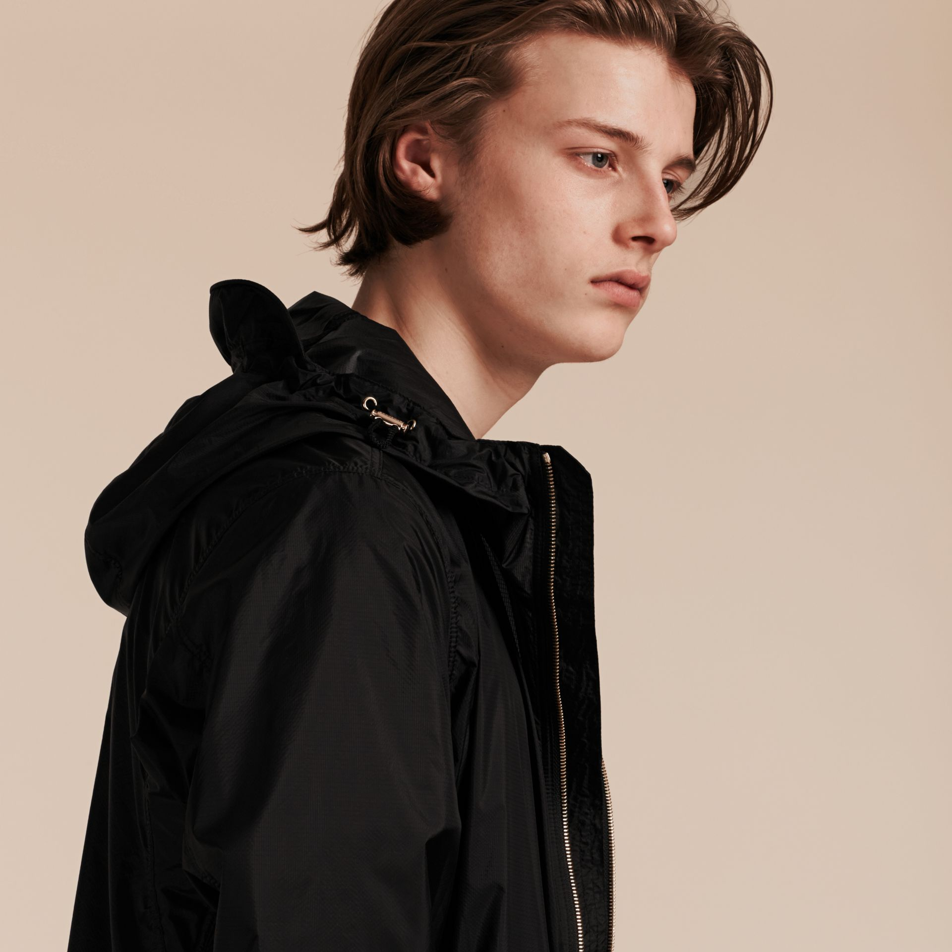 Black Ultra-lightweight Jacket with Hood Black - gallery image 6