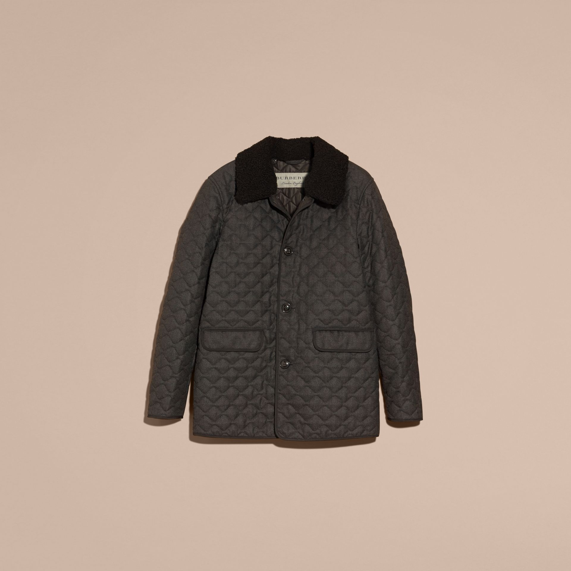 Dark grey melange Quilted Wool Flannel Jacket with Detachable Shearling Collar - gallery image 4