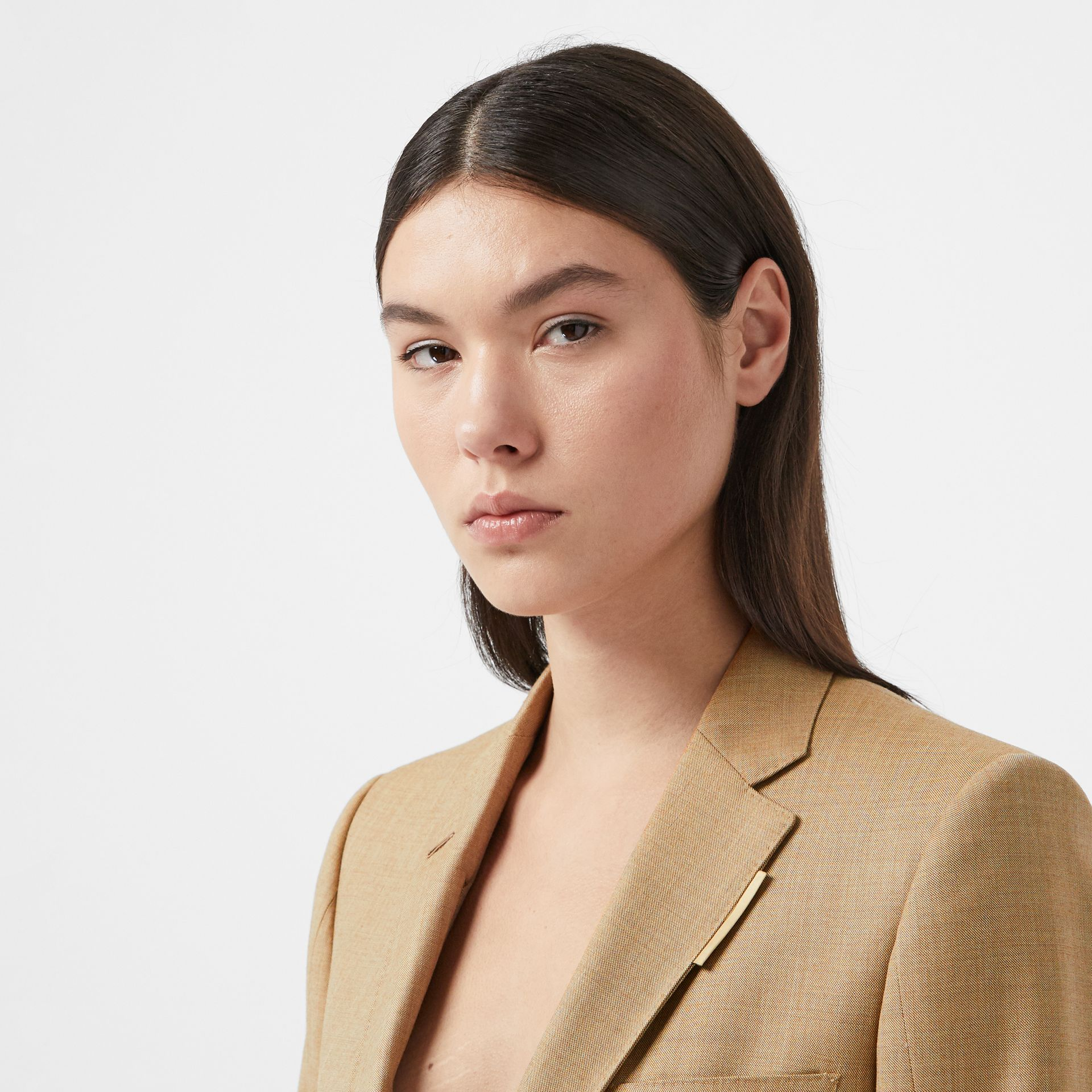 Link Detail Wool Cashmere Blazer in Pecan Melange - Women | Burberry United Kingdom - gallery image 1