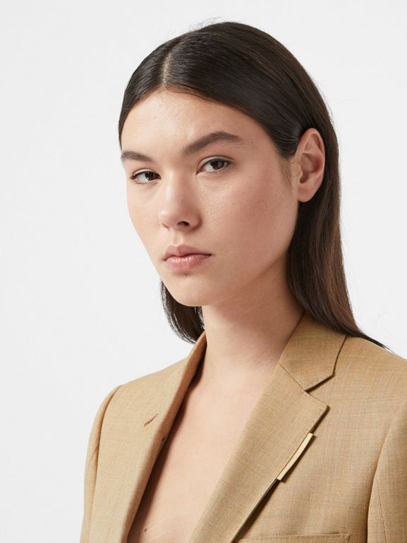 Link Detail Wool Cashmere Blazer in Pecan Melange - Women | Burberry - cell image 1