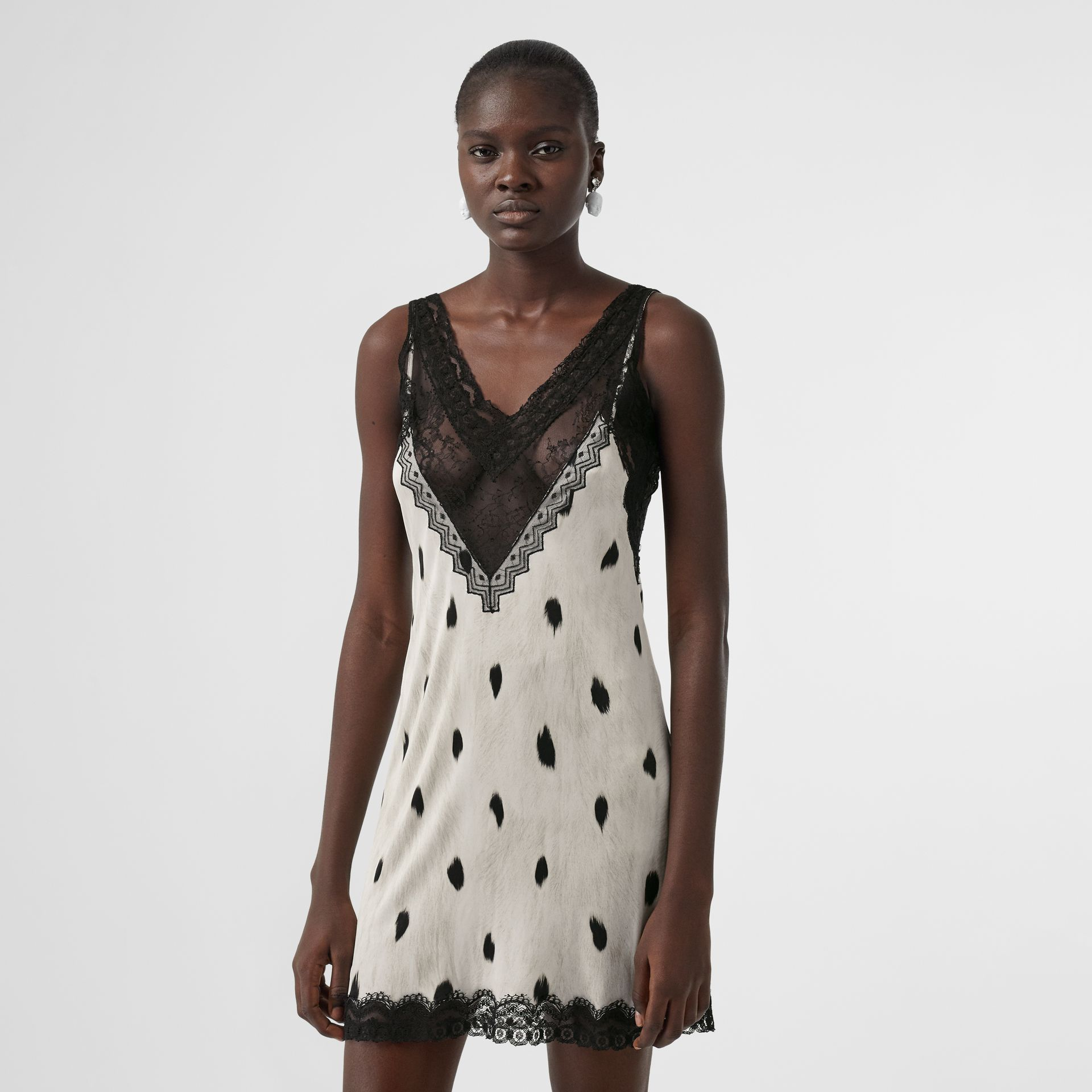 Lace Panel Animal Print Slip Dress in Black/white - Women | Burberry - gallery image 0