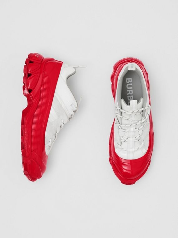 Nylon and Suede Arthur Sneakers in White/red