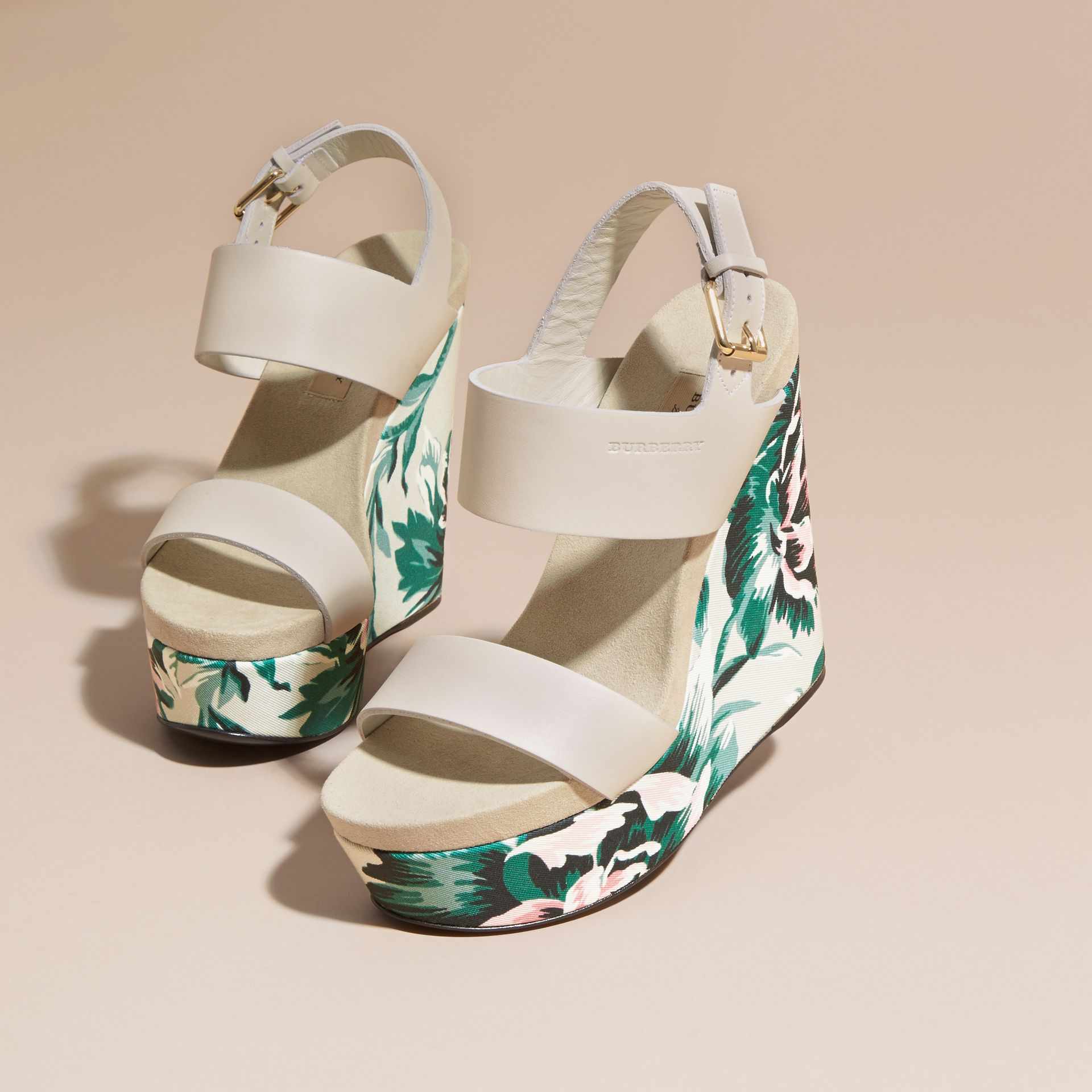 Peony Rose Print Leather Platform Wedges Emerald Green - gallery image 3