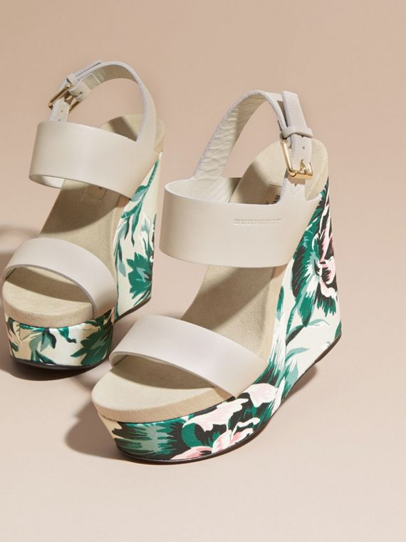 Peony Rose Print Leather Platform Wedges Emerald Green - cell image 2
