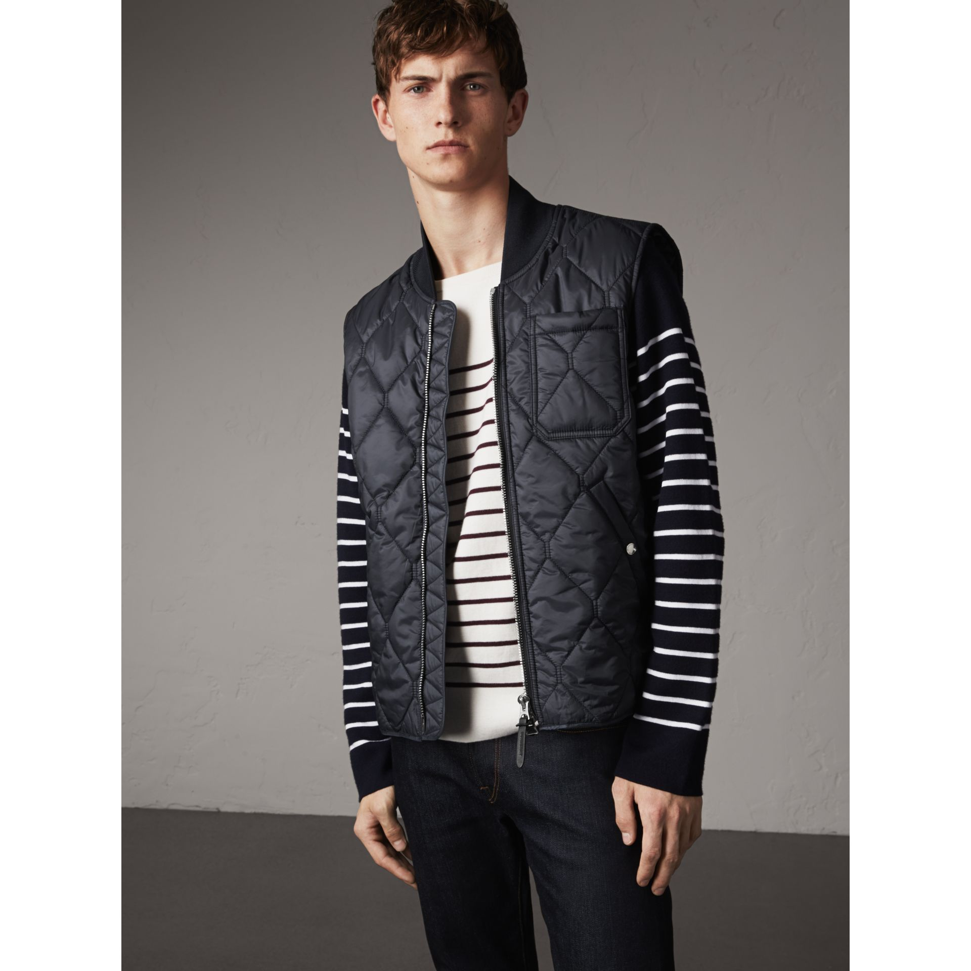 Diamond Quilted Gilet in Navy - Men | Burberry - gallery image 4