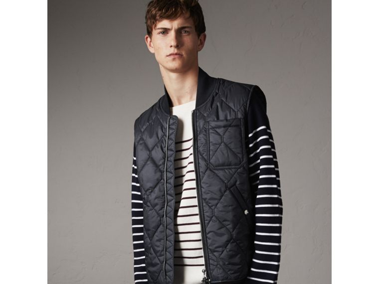 Diamond Quilted Gilet in Navy - Men | Burberry United Kingdom - cell image 4