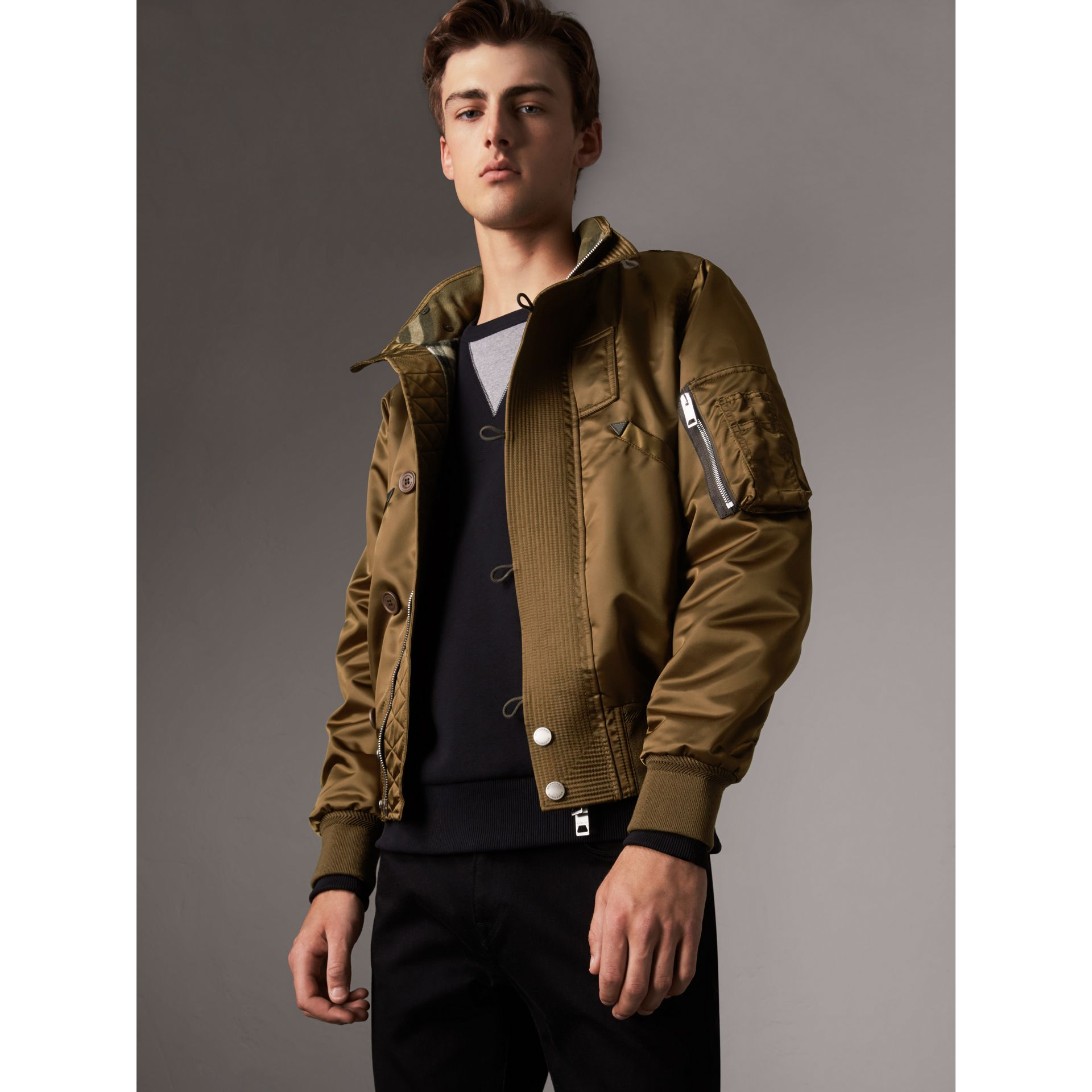 Nylon Bomber Jacket with Packaway Hood in Khaki Brown - Men | Burberry - gallery image 6