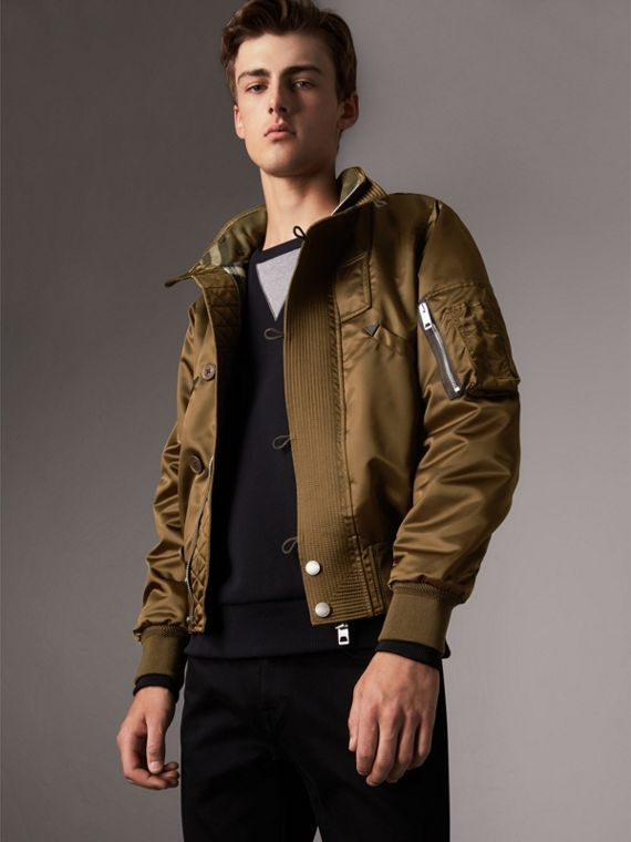 Nylon Bomber Jacket with Packaway Hood in Khaki Brown