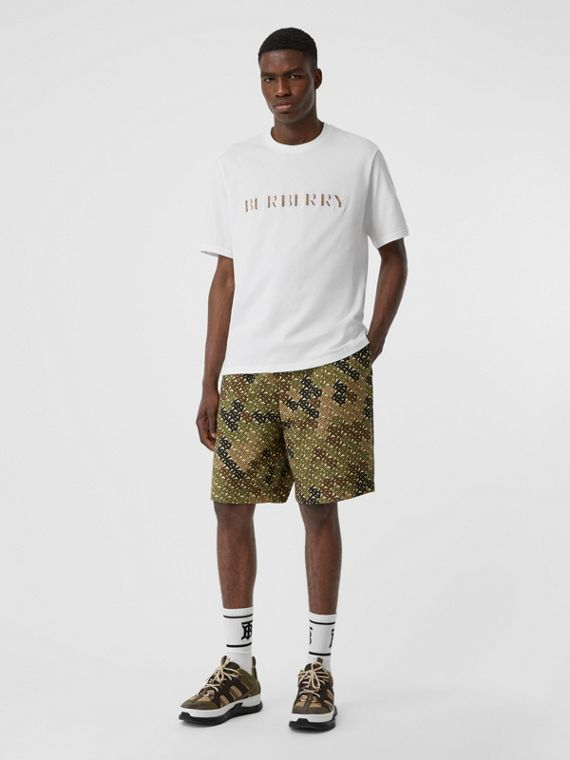 Embroidered Check Logo Cotton T-shirt in White