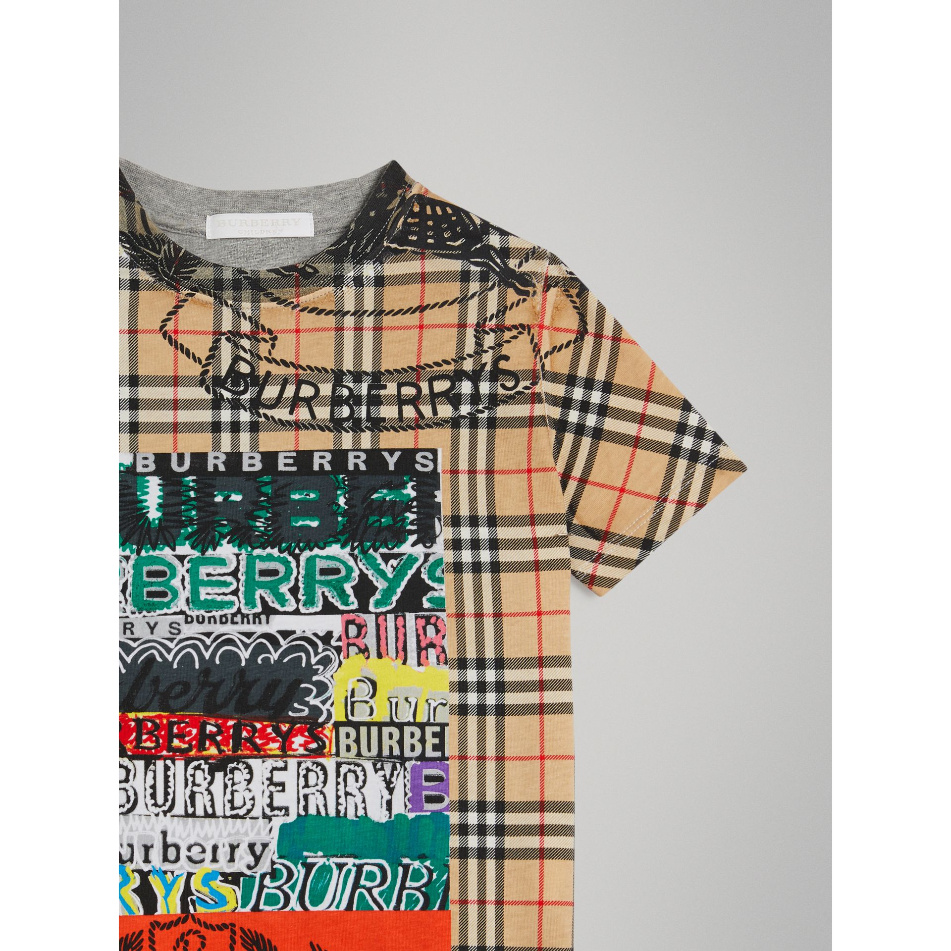 Vintage Check Logo Print Cotton T-shirt in Grey Melange - Boy | Burberry - gallery image 4