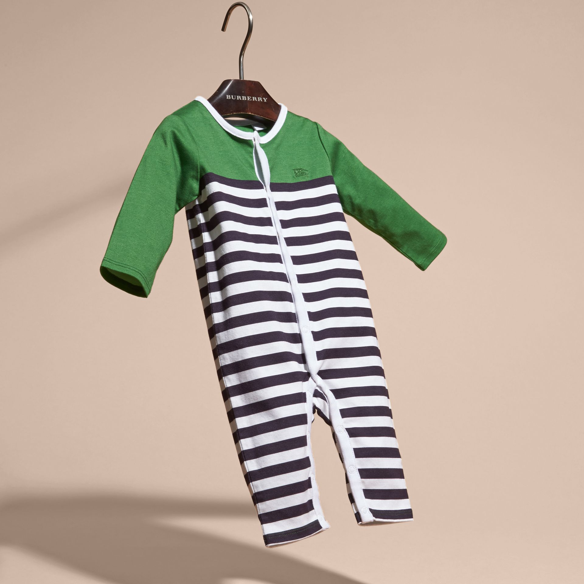 Bright fern green Colour Block Striped Cotton Jumpsuit - gallery image 3