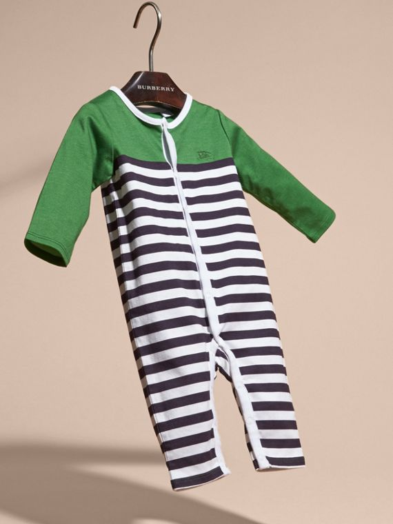 Bright fern green Colour Block Striped Cotton Jumpsuit - cell image 2