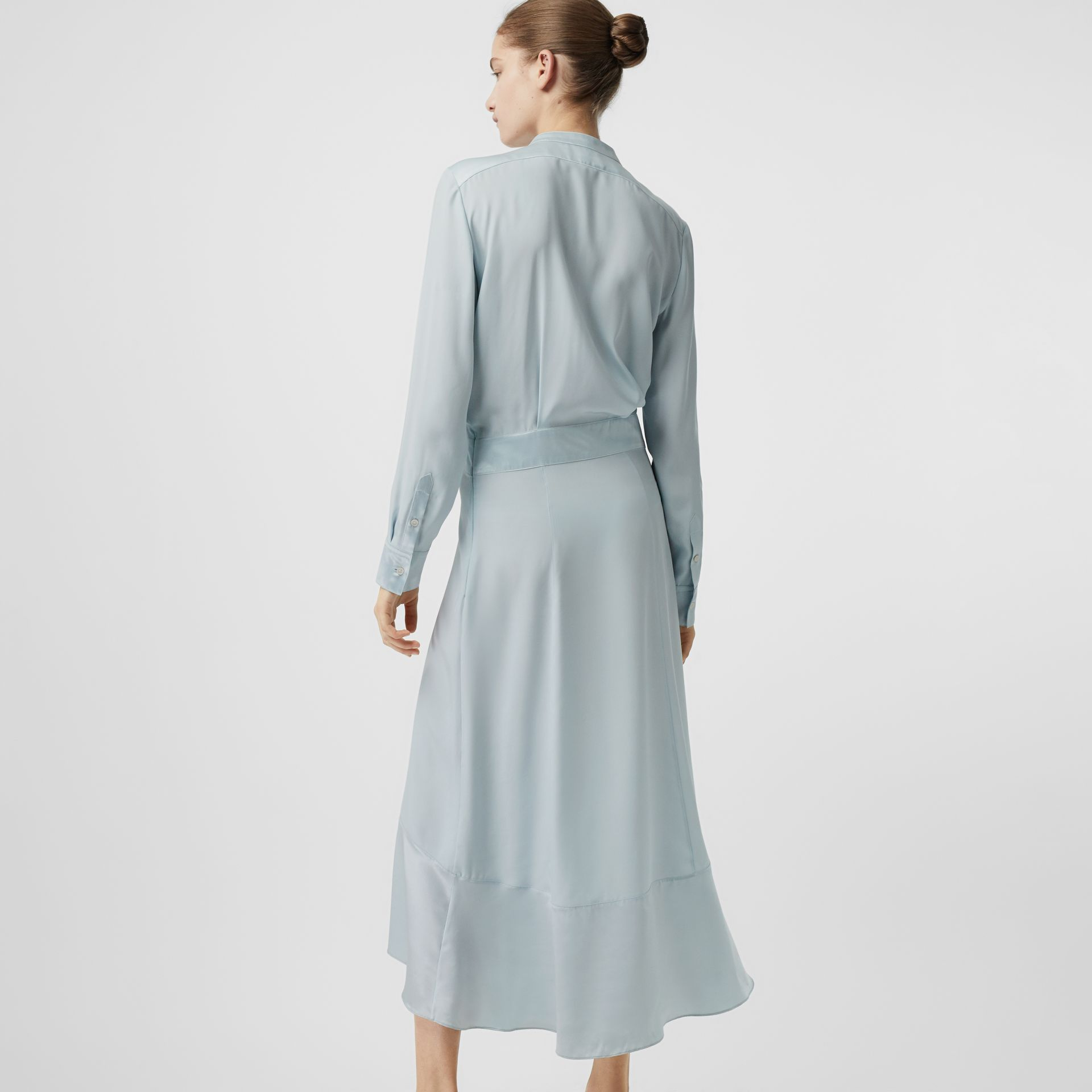 Silk Satin Shirt Dress in Pale Blue - Women | Burberry United Kingdom - gallery image 2