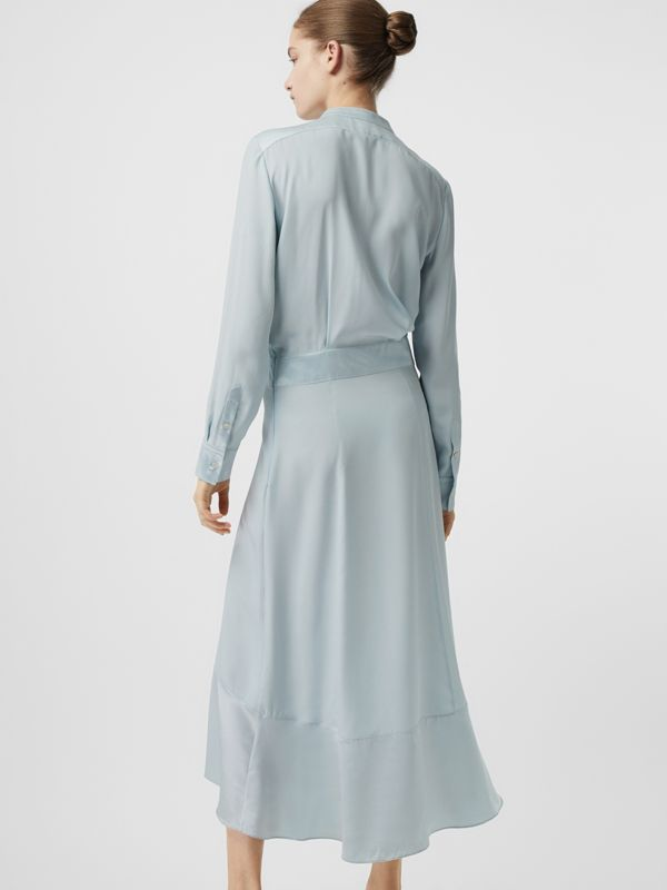 Silk Satin Shirt Dress in Pale Blue - Women | Burberry - cell image 2