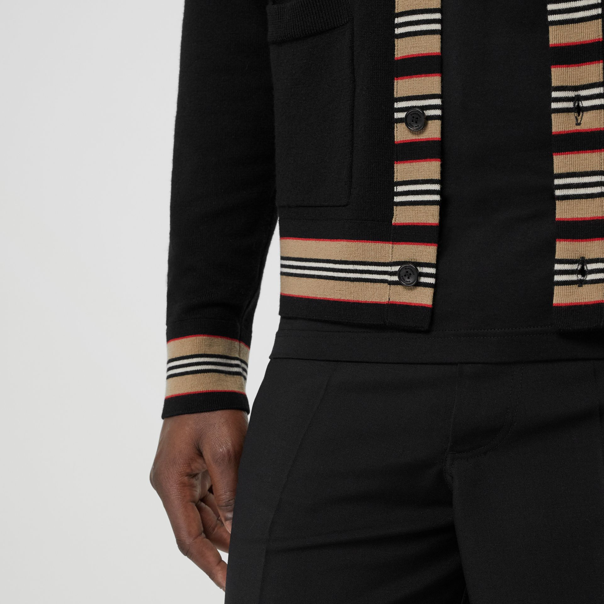 Icon Stripe Detail Merino Wool Cardigan in Black - Men | Burberry Singapore - gallery image 4